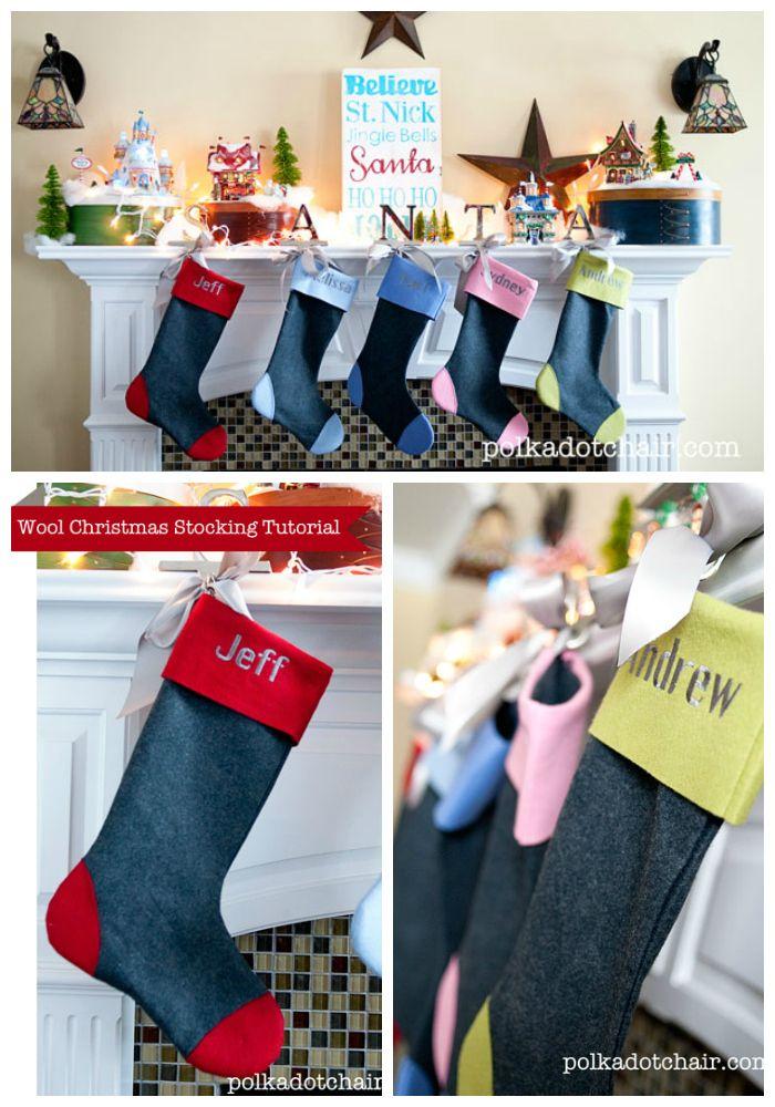 Wool Felt Christmas Stocking Tutorial | Weihnachtsstrumpf, Zu spät ...