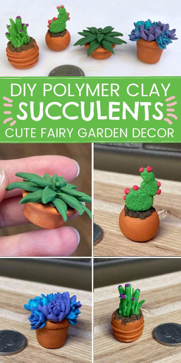 DIY Fairy Garden Accessories – Polymer Clay Succulents