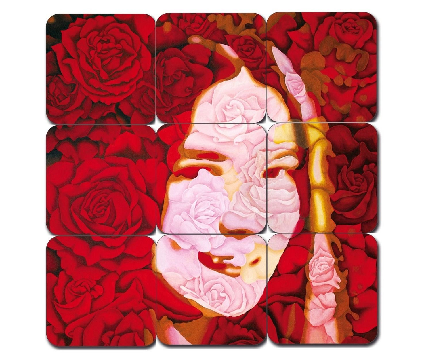 """Roses for Nina"". Painting by Werner Horvath as beer mat puzzle."