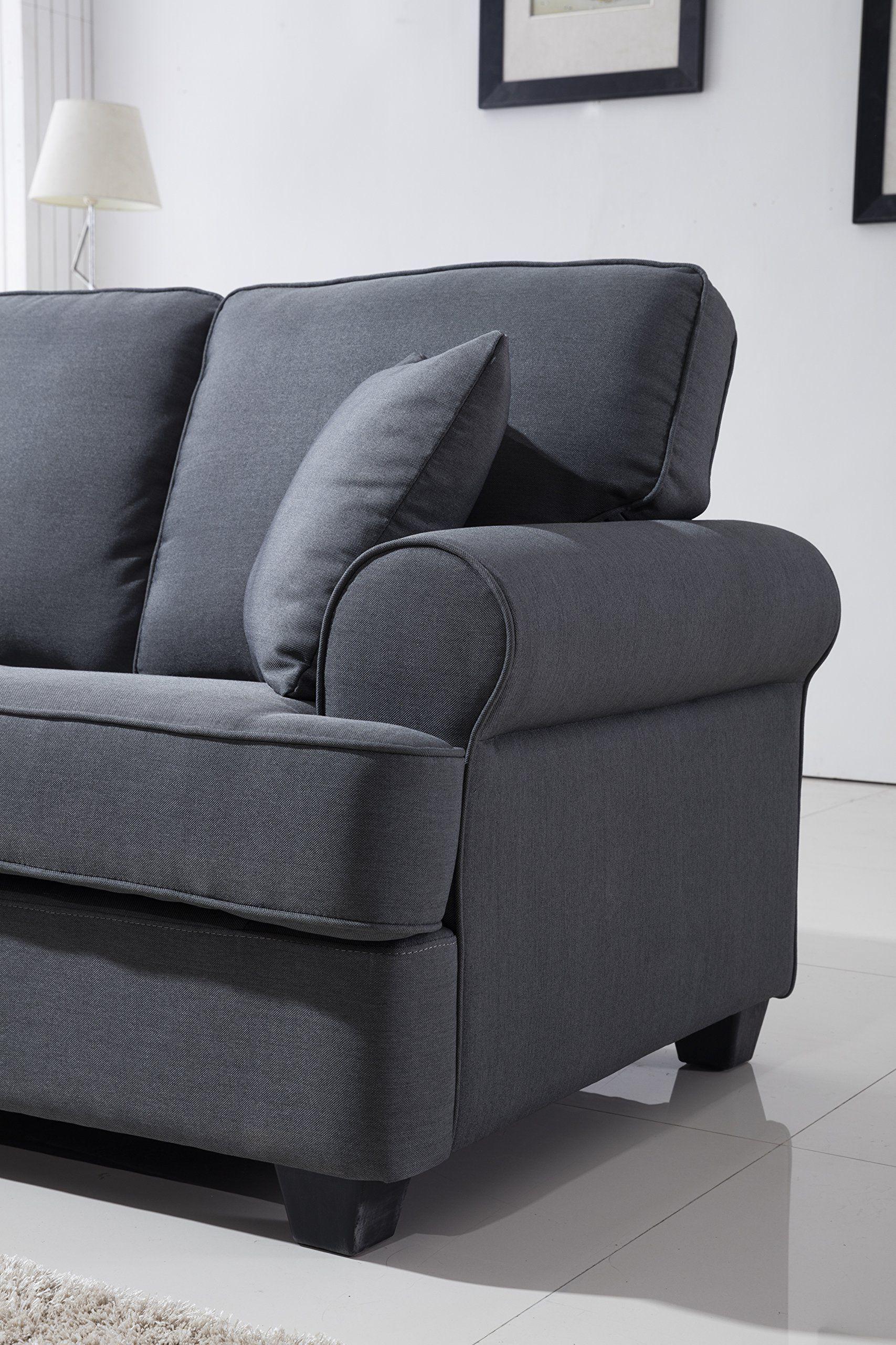 Dark grey living room classic plush fabric sofa living room furniture dark grey  many