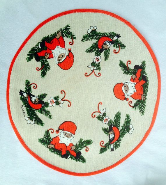 Swedish christmas 60s round vintage tablecloth with a fantastic retro pattern with gnomes.