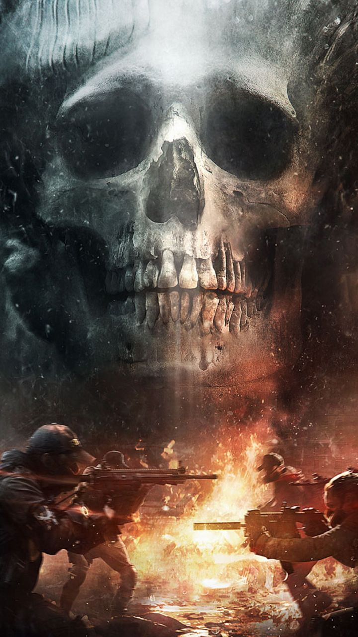 Tom clancy's the division, game, skull, soldiers, 720x1280