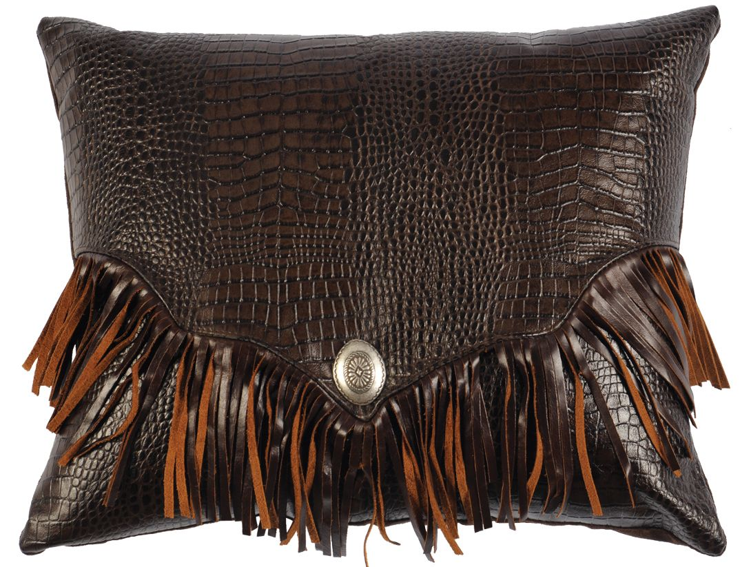 Decorative Throw Pillows With Fringe : Gator leather pillow with fringe Decorative Leather Pillows Pinterest Leather pillow and ...