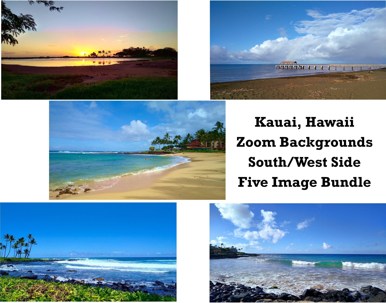Zoom Backgrounds Bundle Kauai Hawaii Kauai Zoom Etsy In 2021 Background Kauai Hawaiian Painting