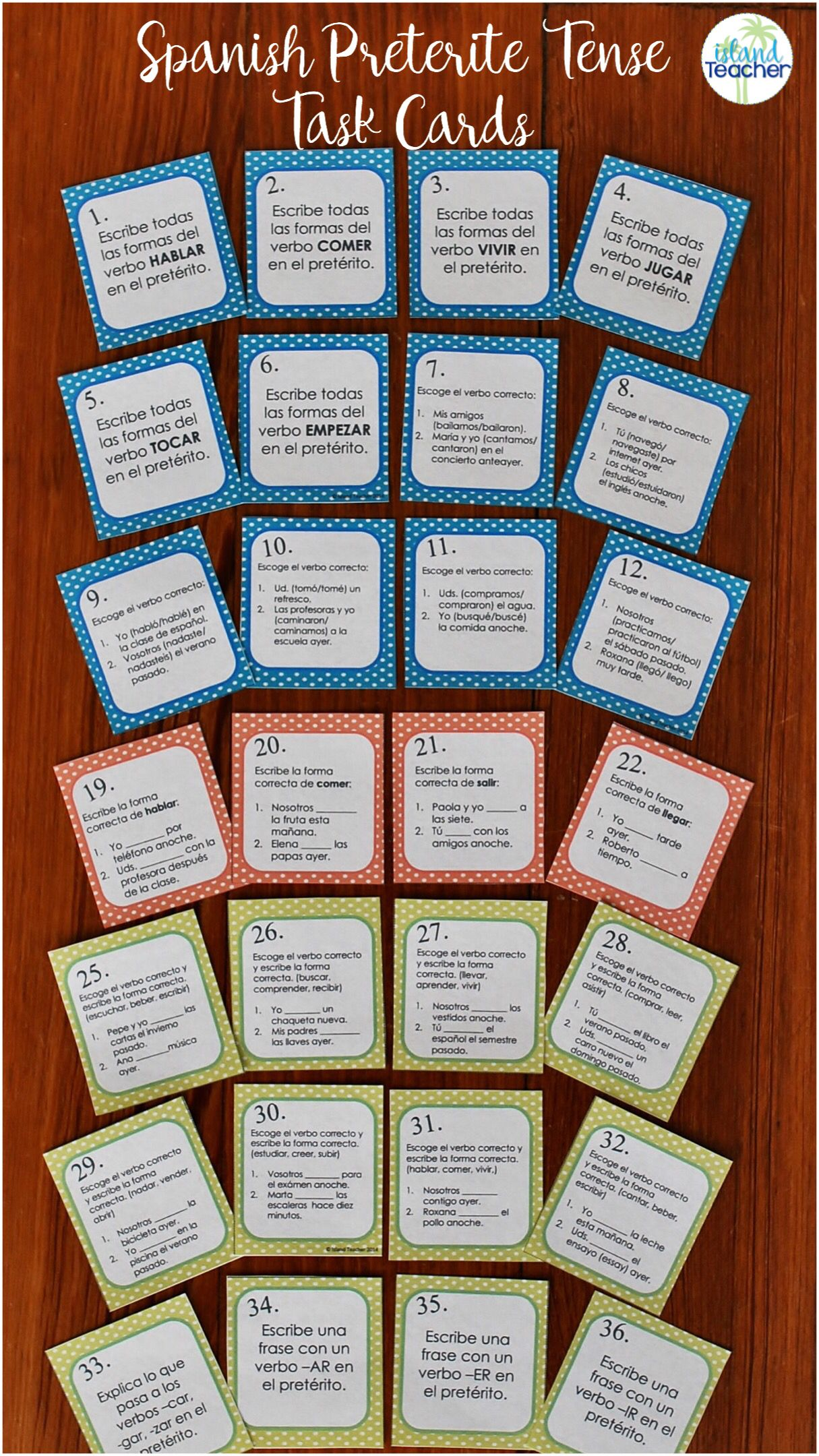 Spanish Task Cards Preterite Tense Regular Verbs