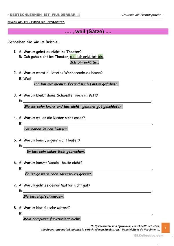 A2 - Weil-Sätze Teil B | german | Pinterest | Arbeitsblätter, Sätze ...