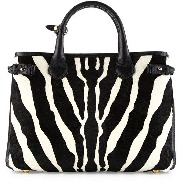 Burberry Banner Medium Animal-Print Calf Hair Tote Bag (11.150 RON) ❤ liked  on Polyvore featuring bags 917936969e069