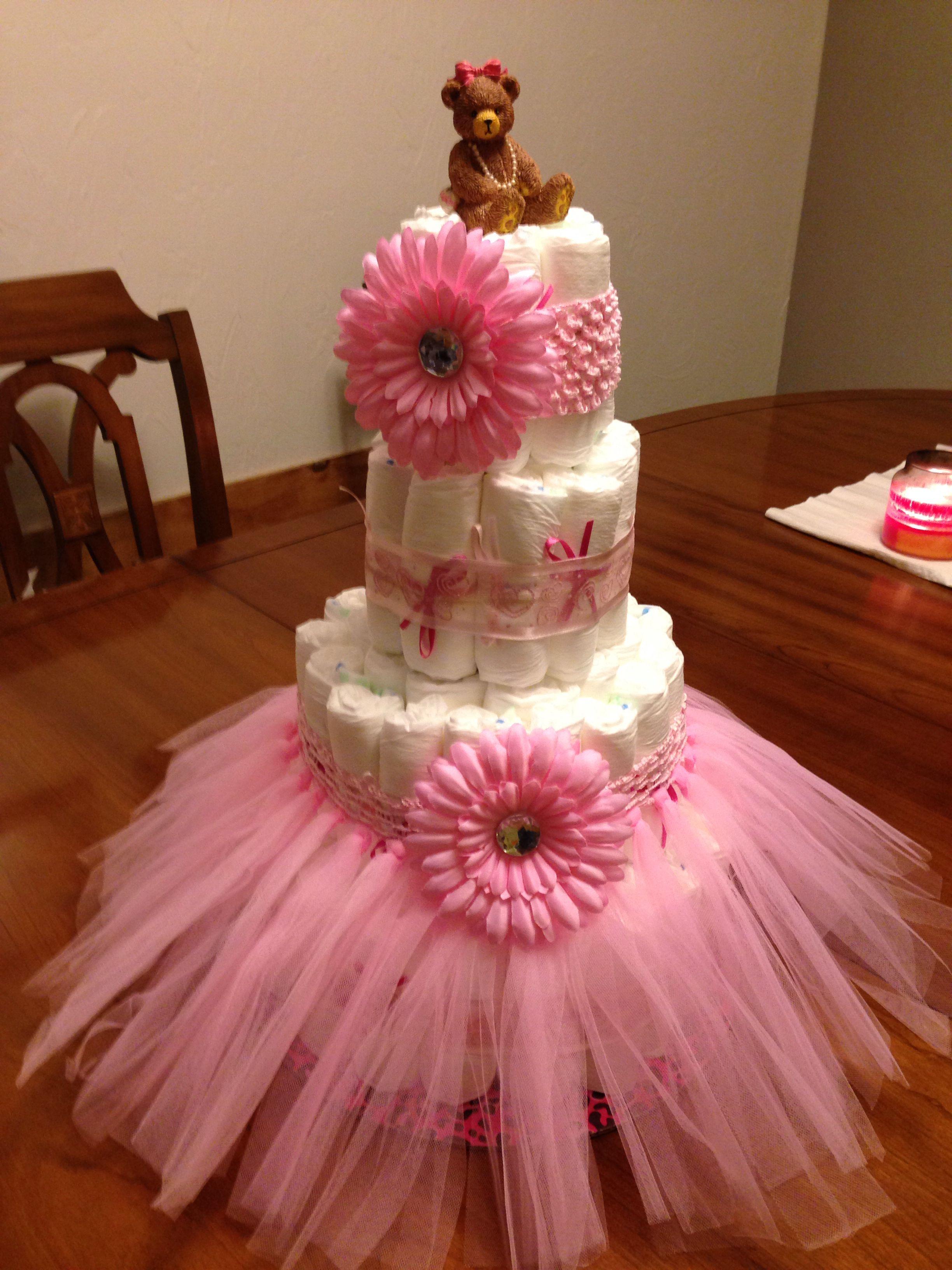 Baby Shower Diaper Cake Using Hobby Lobby Kit And A Little Imagination Baby Shower Diaper Cake Baby Shower Diapers Girl Shower