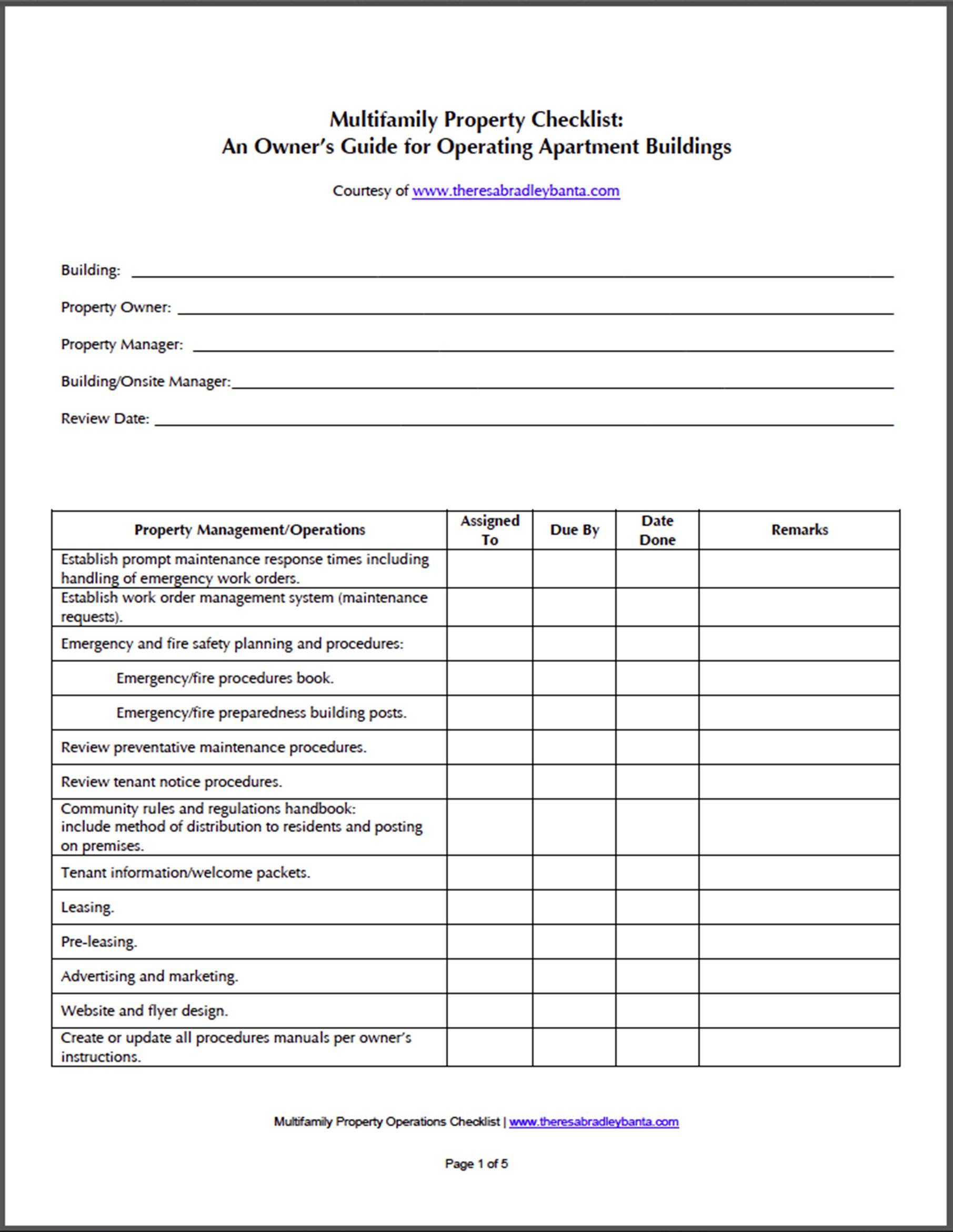 building maintenance checklist template