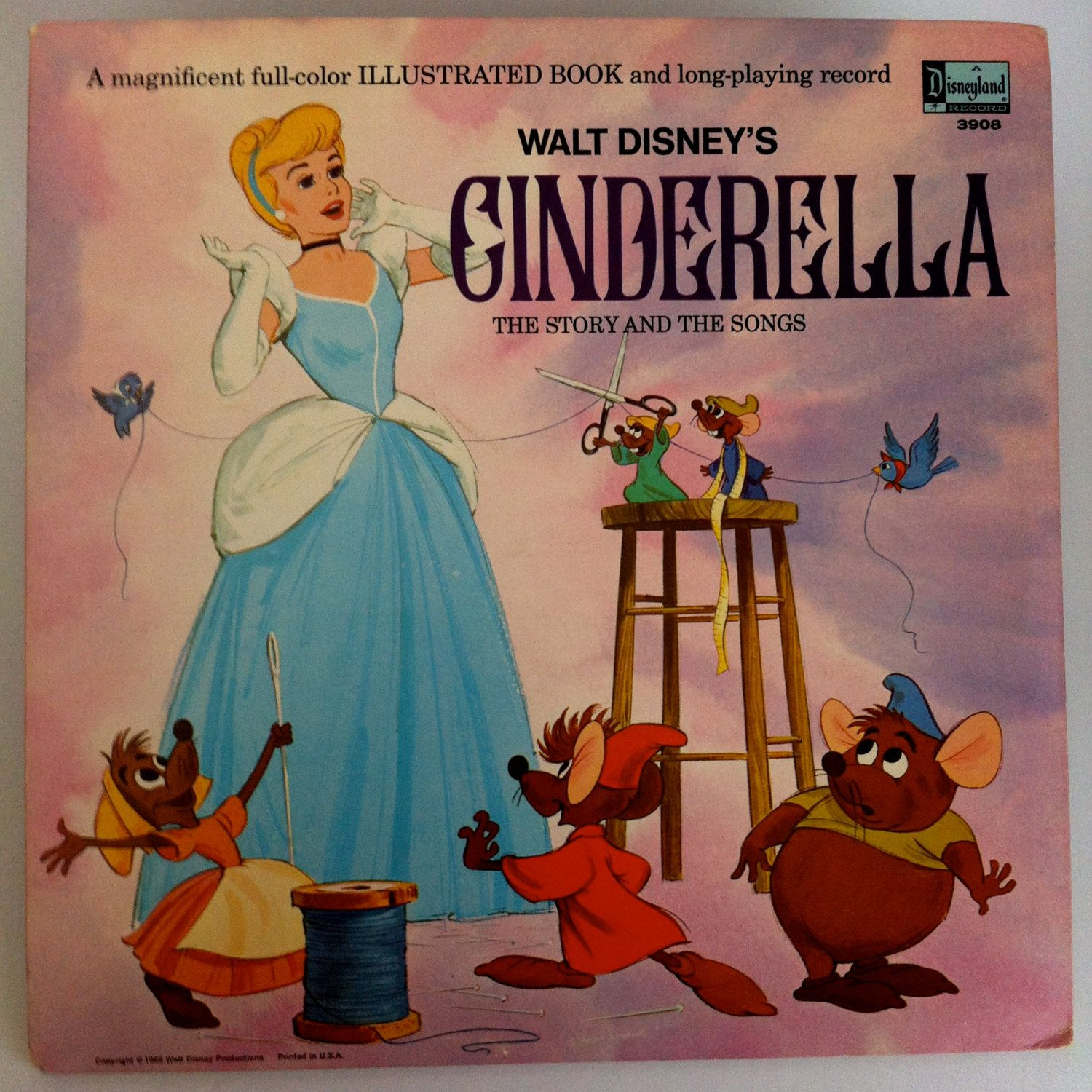Illustrated Book Cover Guitar : Walt disney s cinderella story and songs vinyl record lp