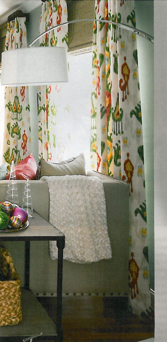 Ikat Curtains And Bamboo Shades (Southern Living Room Makeover)