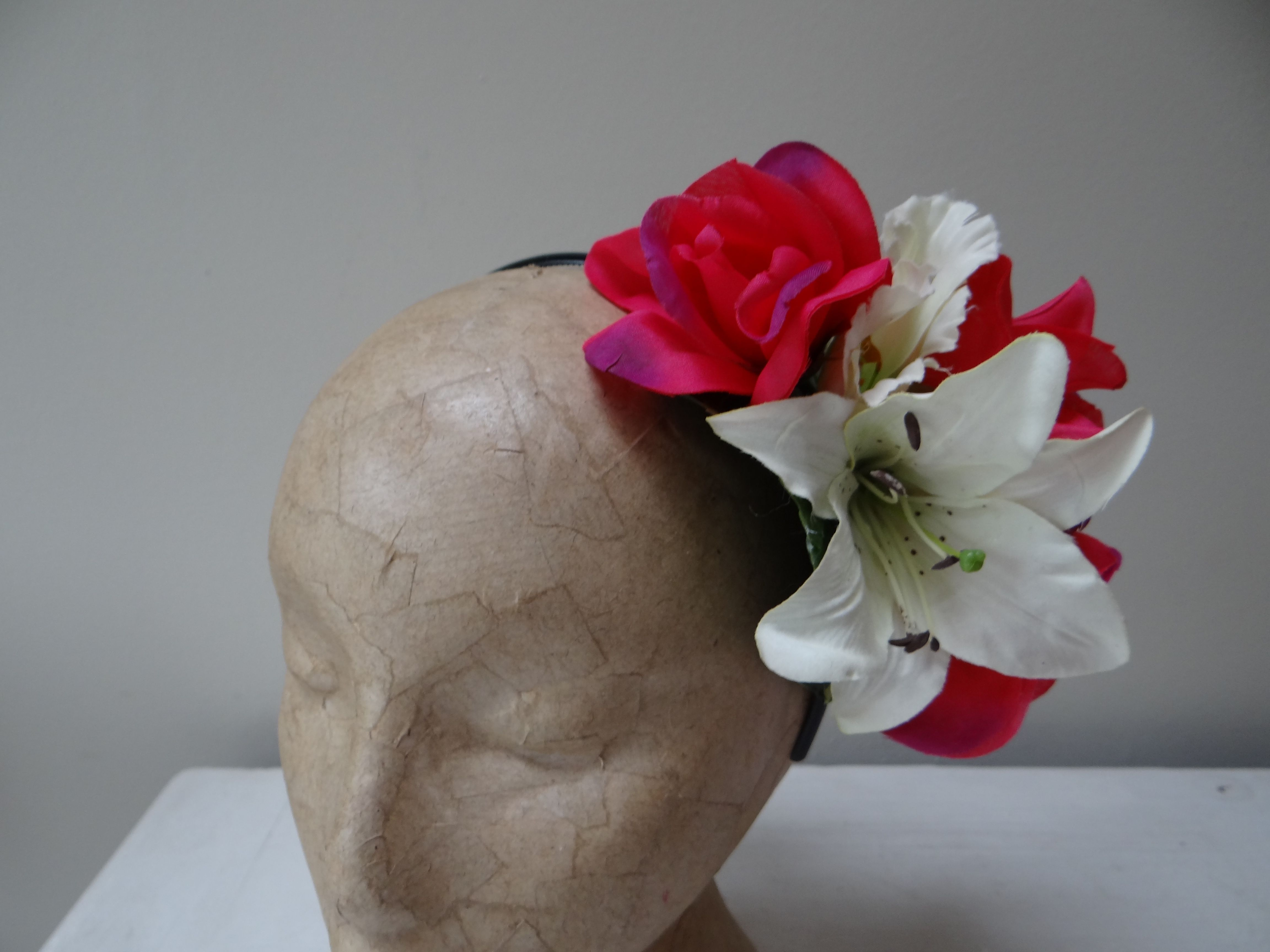 1950s Inspired White Lilly And Vibrant Redpink Rose Flower Crown