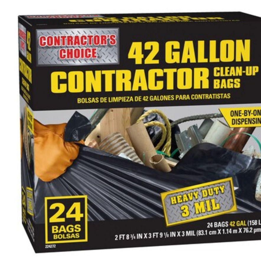Large Heavy Duty Trash Bags 42 Gal Commercial Contractor