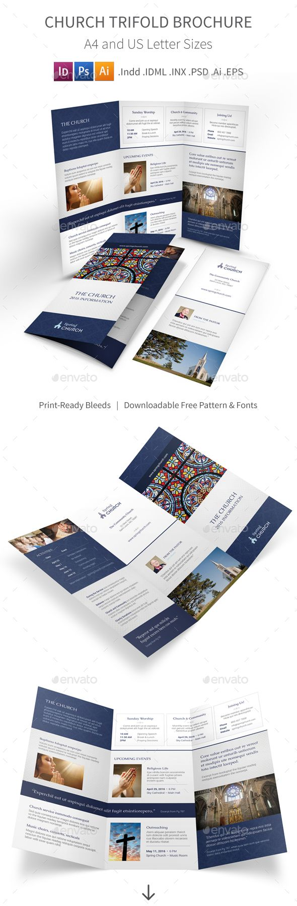 Church Trifold Brochure   Brochures Churches And Brochure Template