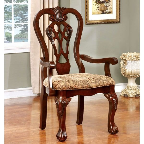 Furniture Of America Carpia Formal Brown Cherry Arm Chair Set Of Gorgeous Cherry Dining Room Chairs Sale Decorating Inspiration