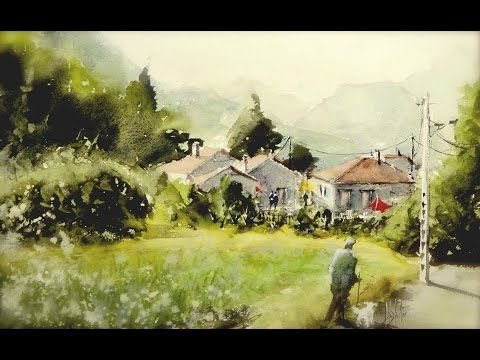 Youtube Village By Umberto Rossini Watercolor Landscape
