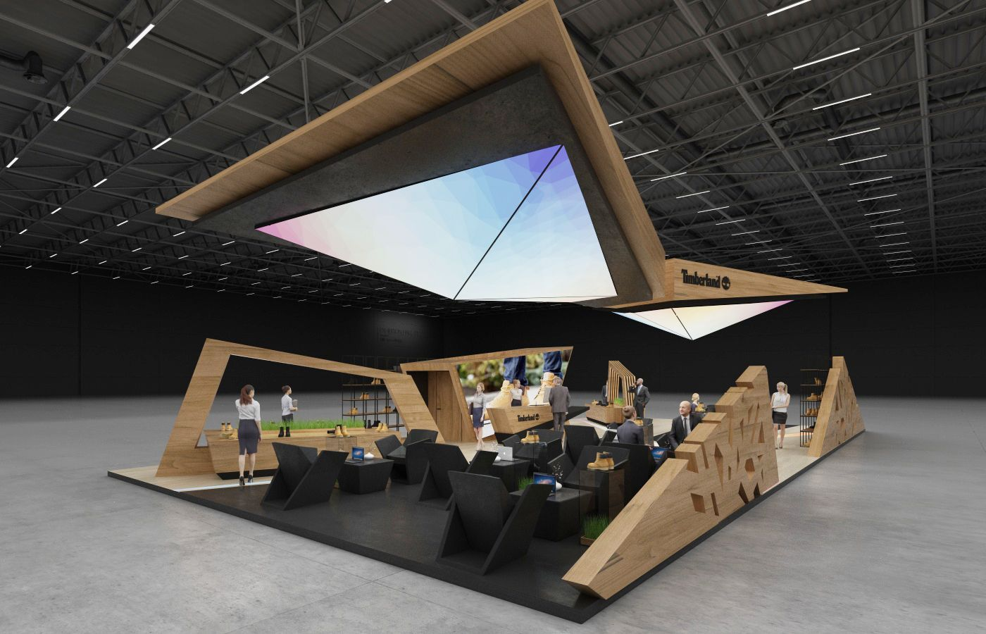 Design concept of exhibition stand for Timberland   200 sq.m 4 sides open.USA, Los Angeles, Design by GM stand design, Designer: Roman Geviuk