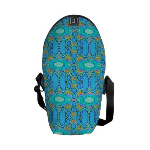 Aqua Blue Pattern Mini Messenger Bag