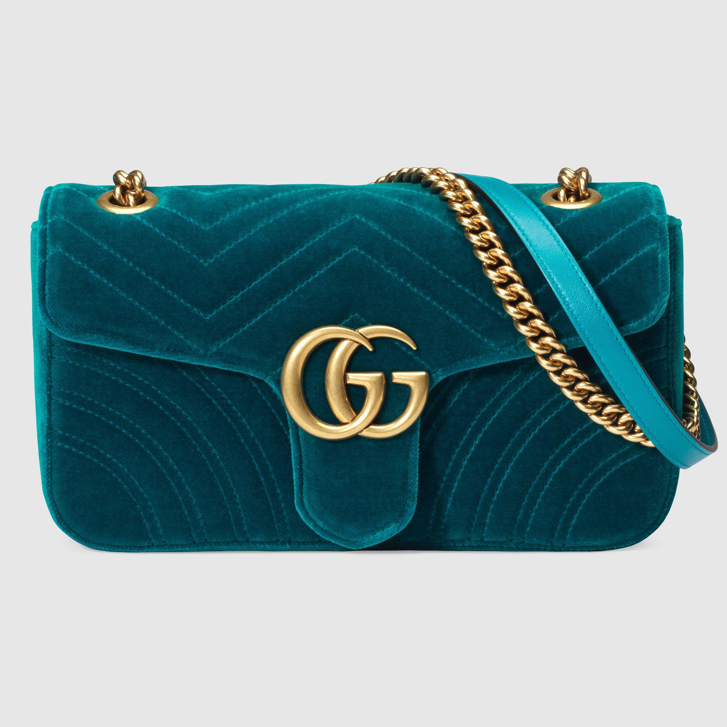 Gucci GG Marmount velvet shoulder bag. LOVE the BLUE VELVET.