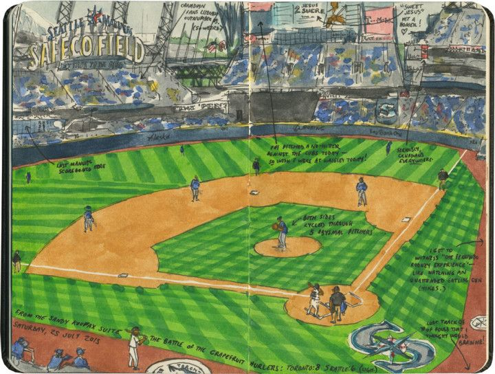 Seattle Mariners game sketch by Chandler O'Leary