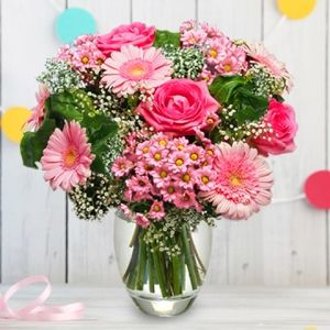 Pink Smile: Pink Roses And Gerberas