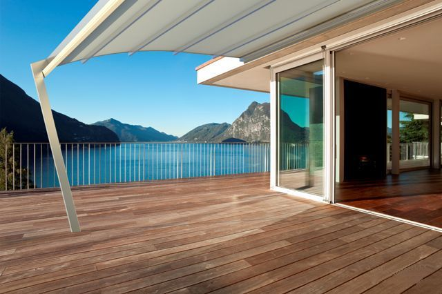 Retractable Curved Attached WaterPROOF Patio Or Deck Cover System. See This  Link For Complete Information