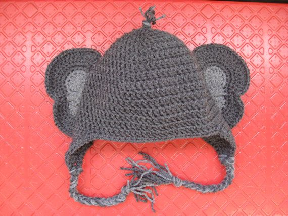 Crochet Elephant Hat by HookedonPinsnNeedles on Etsy, $17 ...