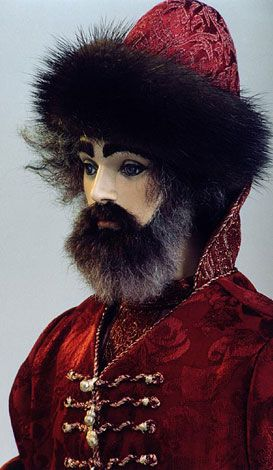 """Yaroslav (face close-up): Fantasy Doll; Red Coat & Hat w/Black Fur Trim; X"""" tall; Limited edition of X/Sold out"""