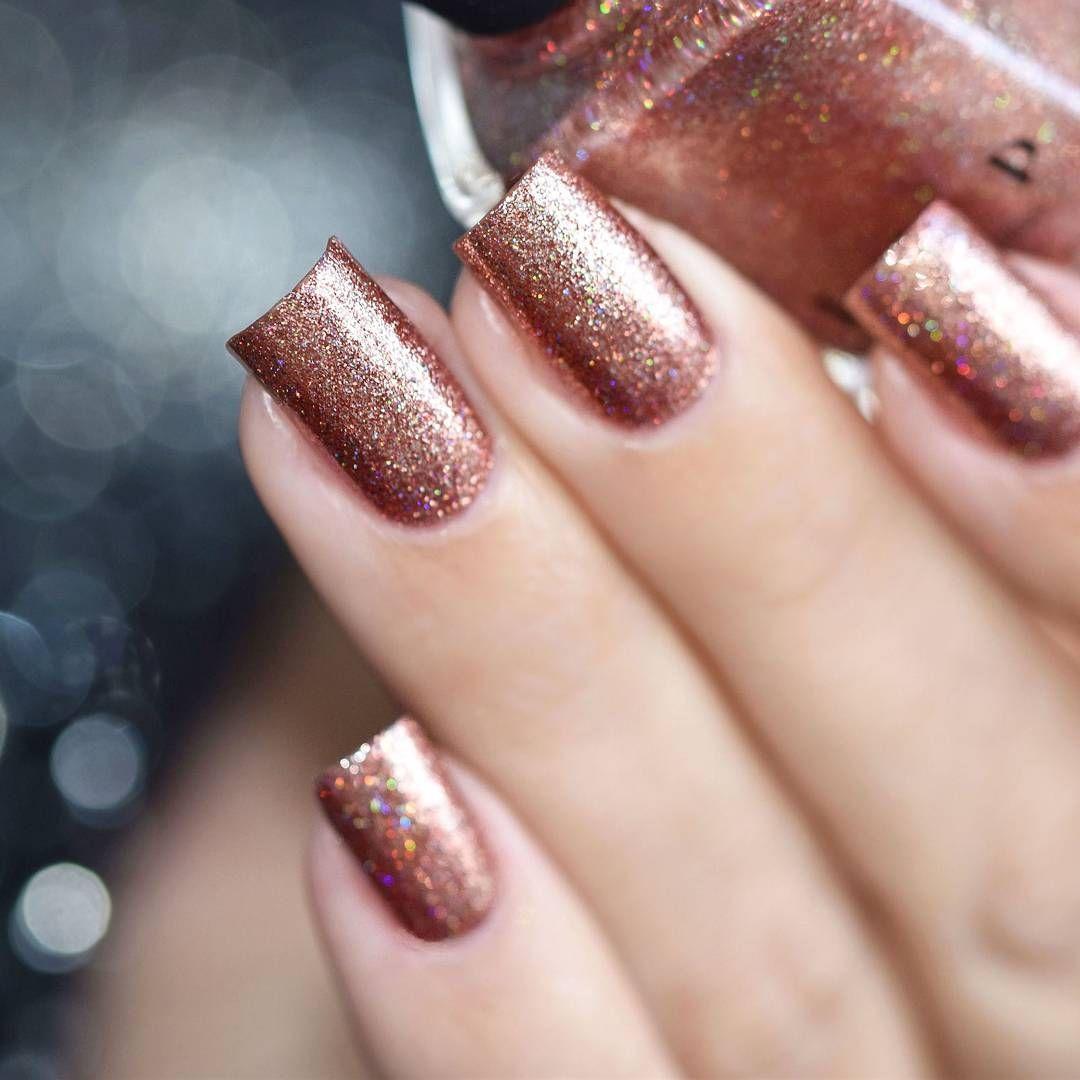 Copper Top Copper Holographic Ultra Metallic Nail Polish By Ilnp Metallic Nails Nails Metallic Nail Polish