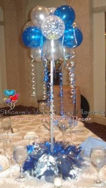 Triad nc balloon centerpieces sweet 16 party silk florist for Balloon decoration ideas for sweet 16