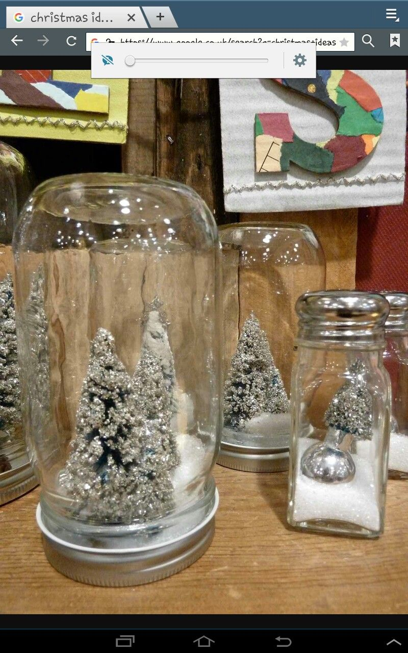 Easy To Make Table Decs Great Idea To Do With The Kids Jars And Trees An Christmas Table Decorations Christmas Party Table Decorations Christmas Centerpieces