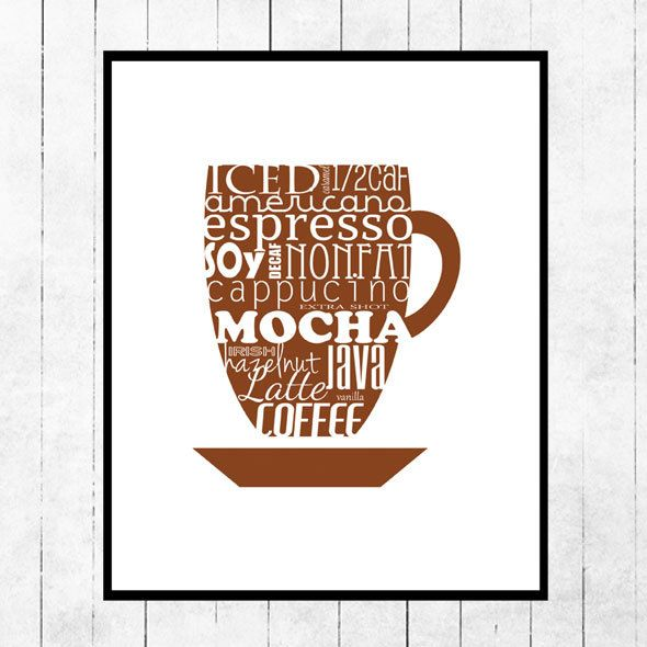 Kitchen, Art, Print, Coffee, Brown, Mocha. $10.00, via Etsy.