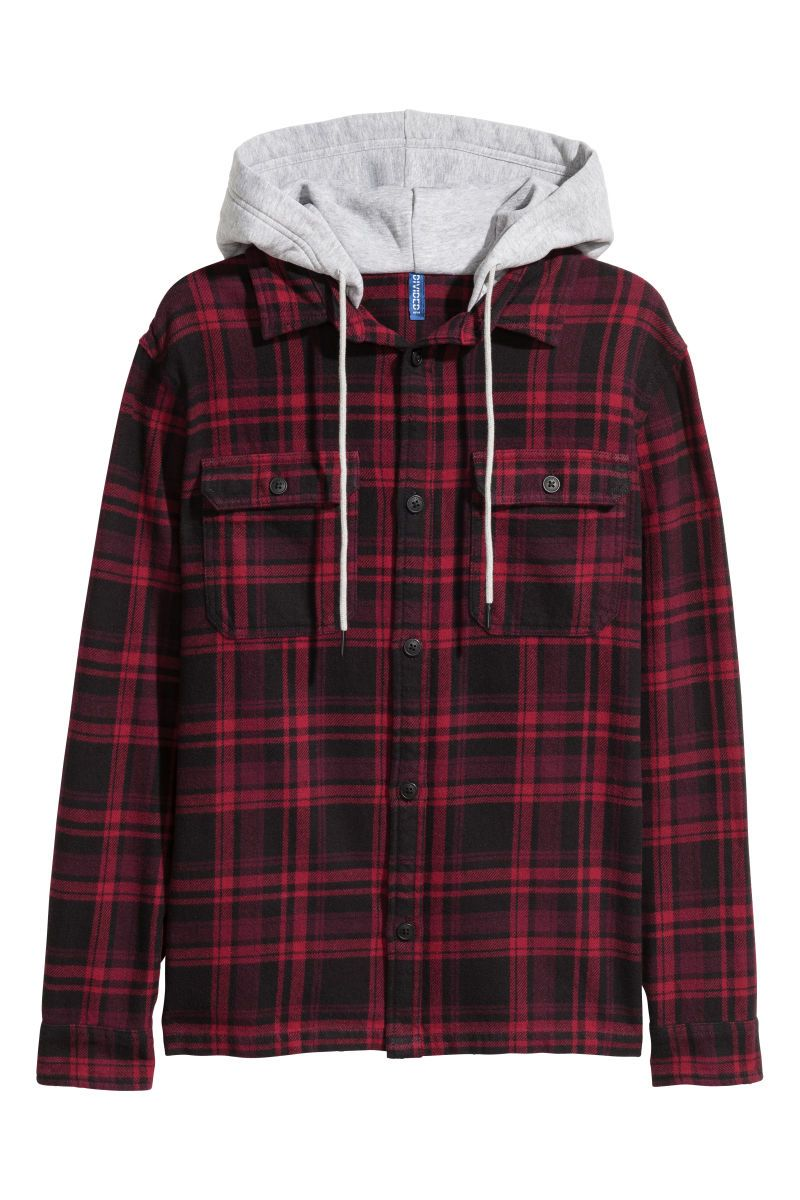 Dark red flannel  Dark redblack plaid Plaid cotton flannel shirt with a lined