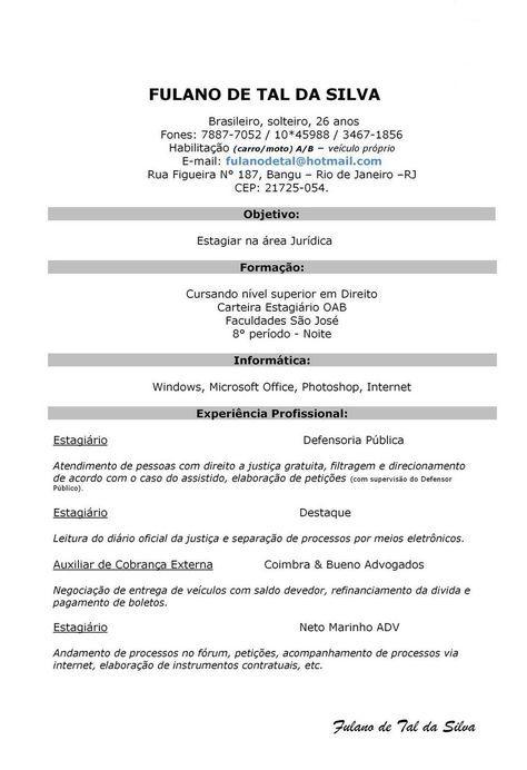 Modelo De Curriculum Simples - Modelo de Curriculum   curriculo ...