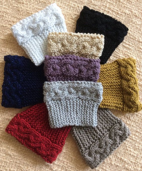 Metallic Knitted Boot Cuffs and Headband Set with Trim | Women ...