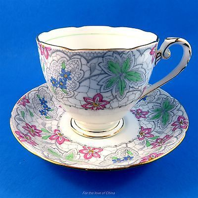 Handpainted Floral Chintz Border Royal Grafton Tea Cup and Saucer Set