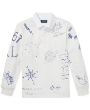 cd70532d4 Polo Ralph Lauren Big Boys Graphic Cotton Rugby Shirt - Deckwash White XL  (18/20)