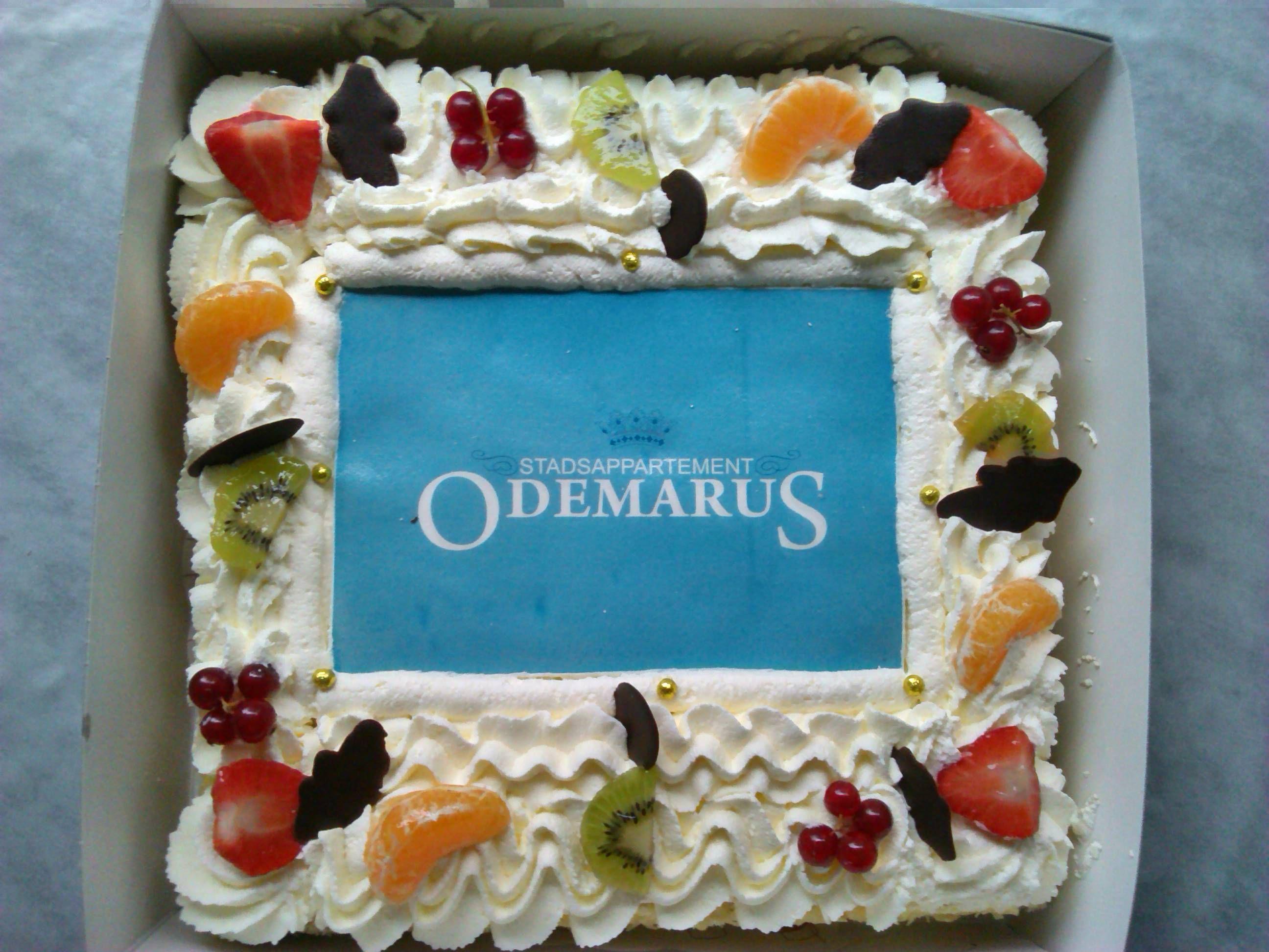 Slagroomtaart met logo Odemarus