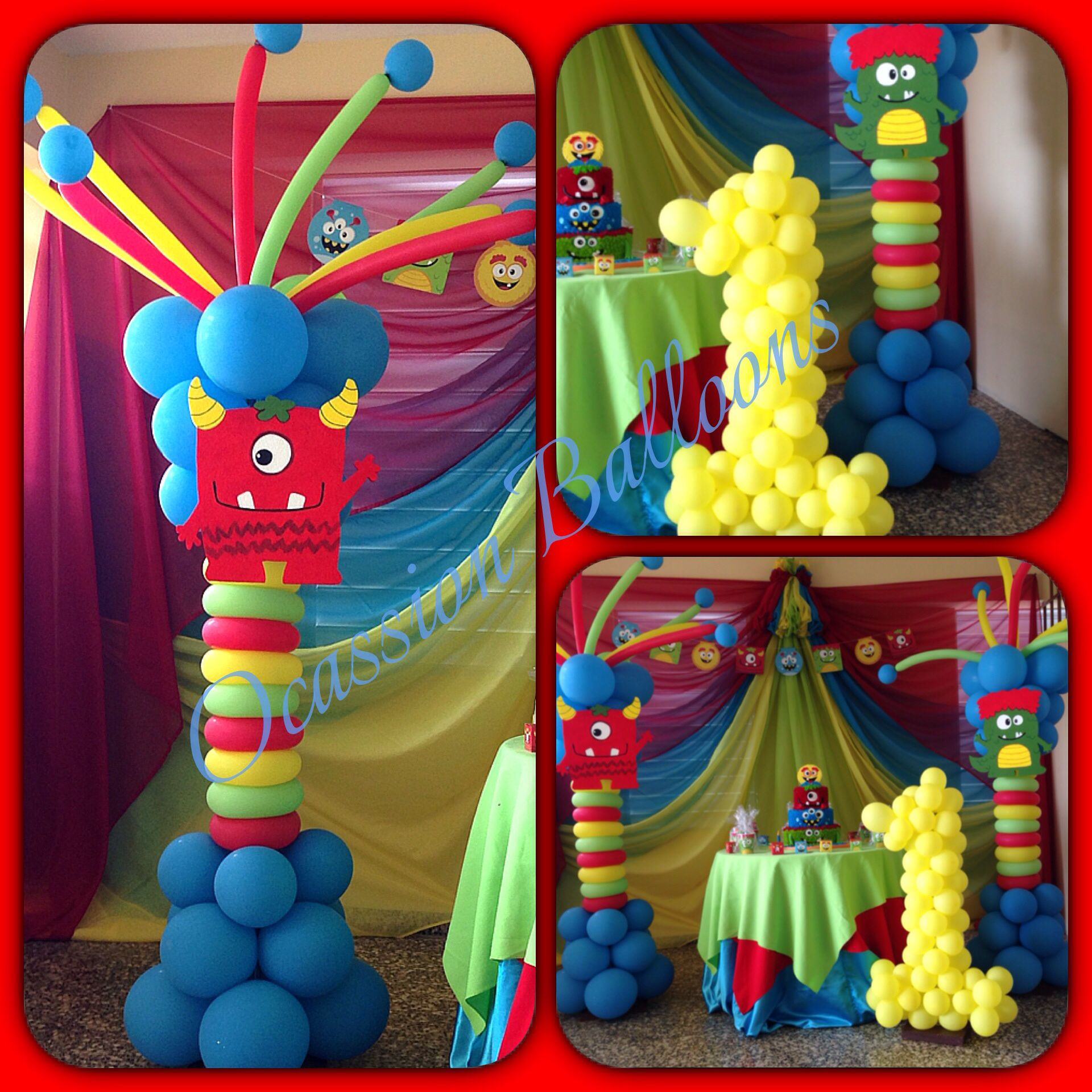 lil monsters balloon decoration balloon art by ocassion balloons in 2019 fiesta de monstruo. Black Bedroom Furniture Sets. Home Design Ideas