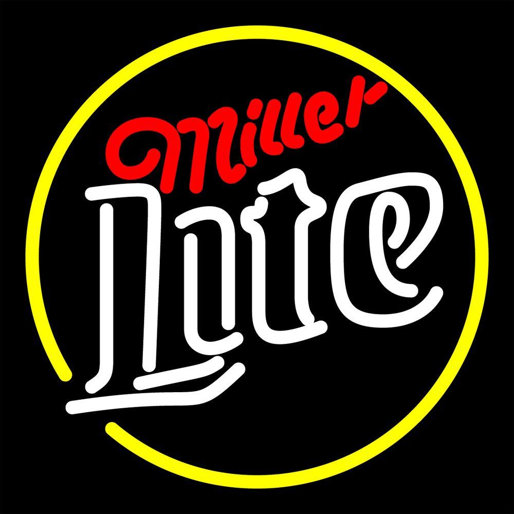 neon miller lite sign signs beer bar 16x16 lights tube visit glass