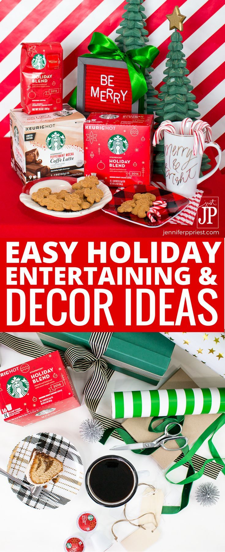 [AD] #CoffeeAtHome #JoyCheerStarbucks 5 Easy Holiday Decorating and Christmas entertaining ideas with Starbucks Holiday Blend K-Cup pods and Starbucks Peppermint Mocha Latte Caffe K-Cup pods at Walmart