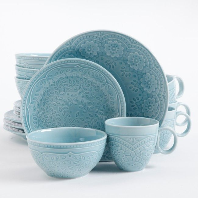 Gibson Elite Alemany 16 Piece Dinnerware Set Aqua & Gibson Elite Alemany 16 Piece Dinnerware Set Aqua | In the Kitchen ...