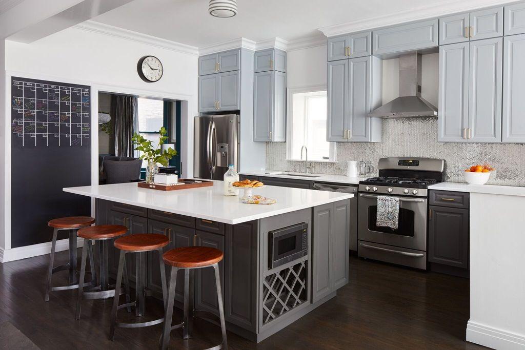 2019 Popular Middle And Large Kitchens Color Schemes Get Your Best Kitchen Paint Colors Grey Kitchen Cabinets Kitchen Paint