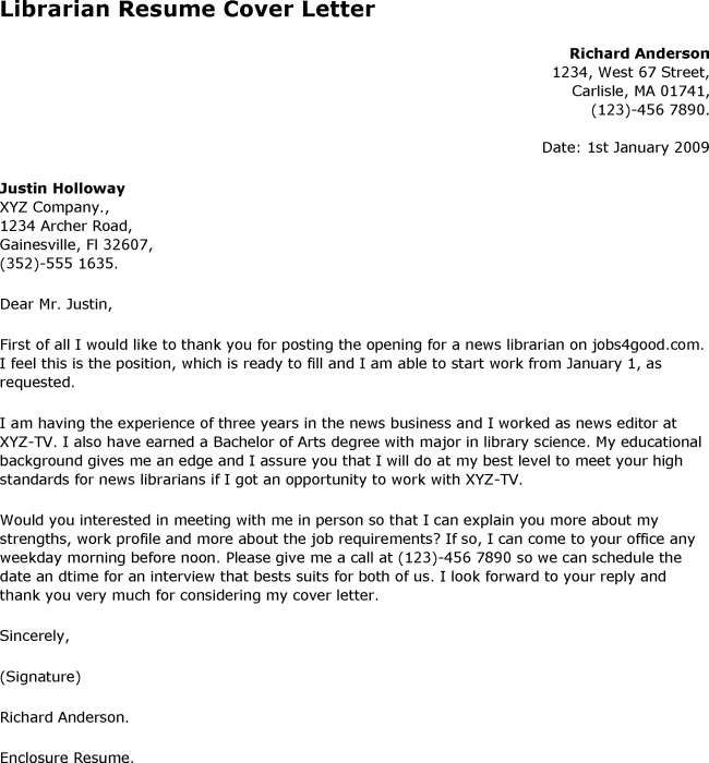 Librarian application letter This is a sample job application – Librarian Cover Letter
