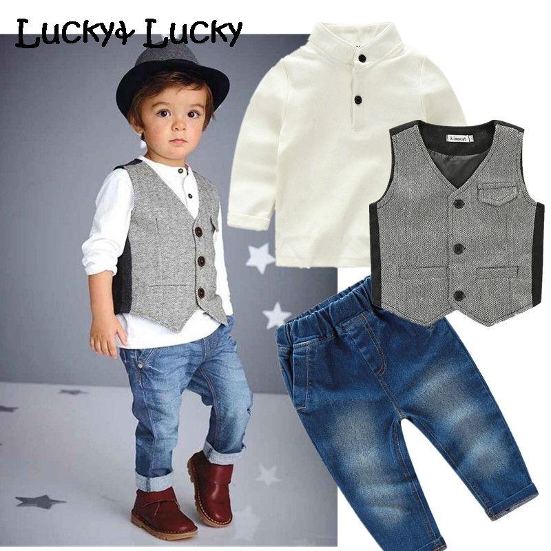 2fa9e51c1ce Cheap New kids ropa casual ropa para niños set 3 unids/set traje de la  manera para los niños camisa + chaleco + pantalones vaqueros, Compro  Calidad Sistemas ...