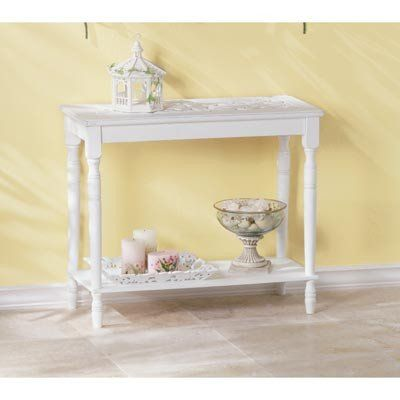 Carved White Console Table. Decorative carved white console accent table. This shabby chic distressed white accent table will compliment any decor in your home.