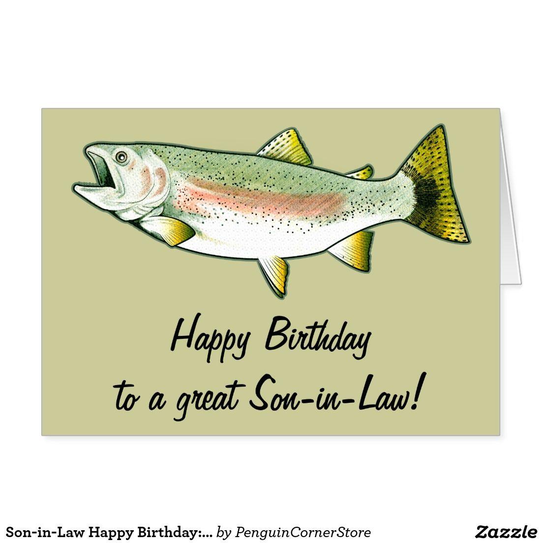 Son In Law Happy Birthday Rainbow Trout Card Zazzle Com Birthday Verses For Cards Happy Birthday Son Happy Birthday Name