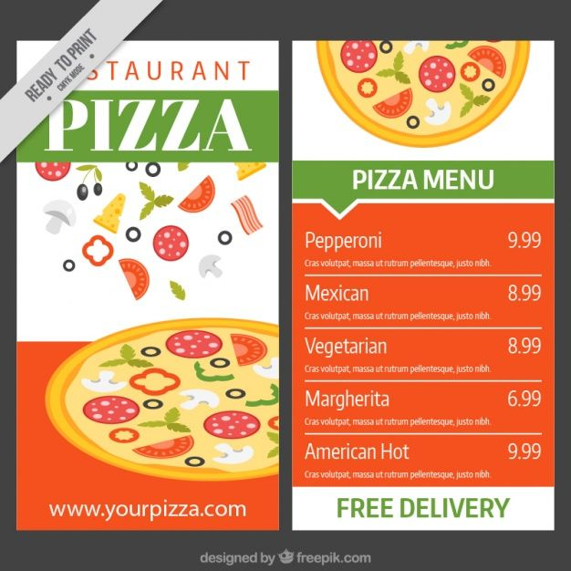 pizza menu template vector free download templates sample example - sample menu template