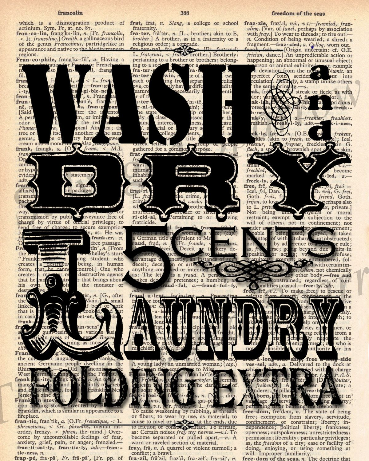 Vintage Laundry Room Signs Vintage Dictionary Laundry Room Print Plus Free 5X7 Monogram