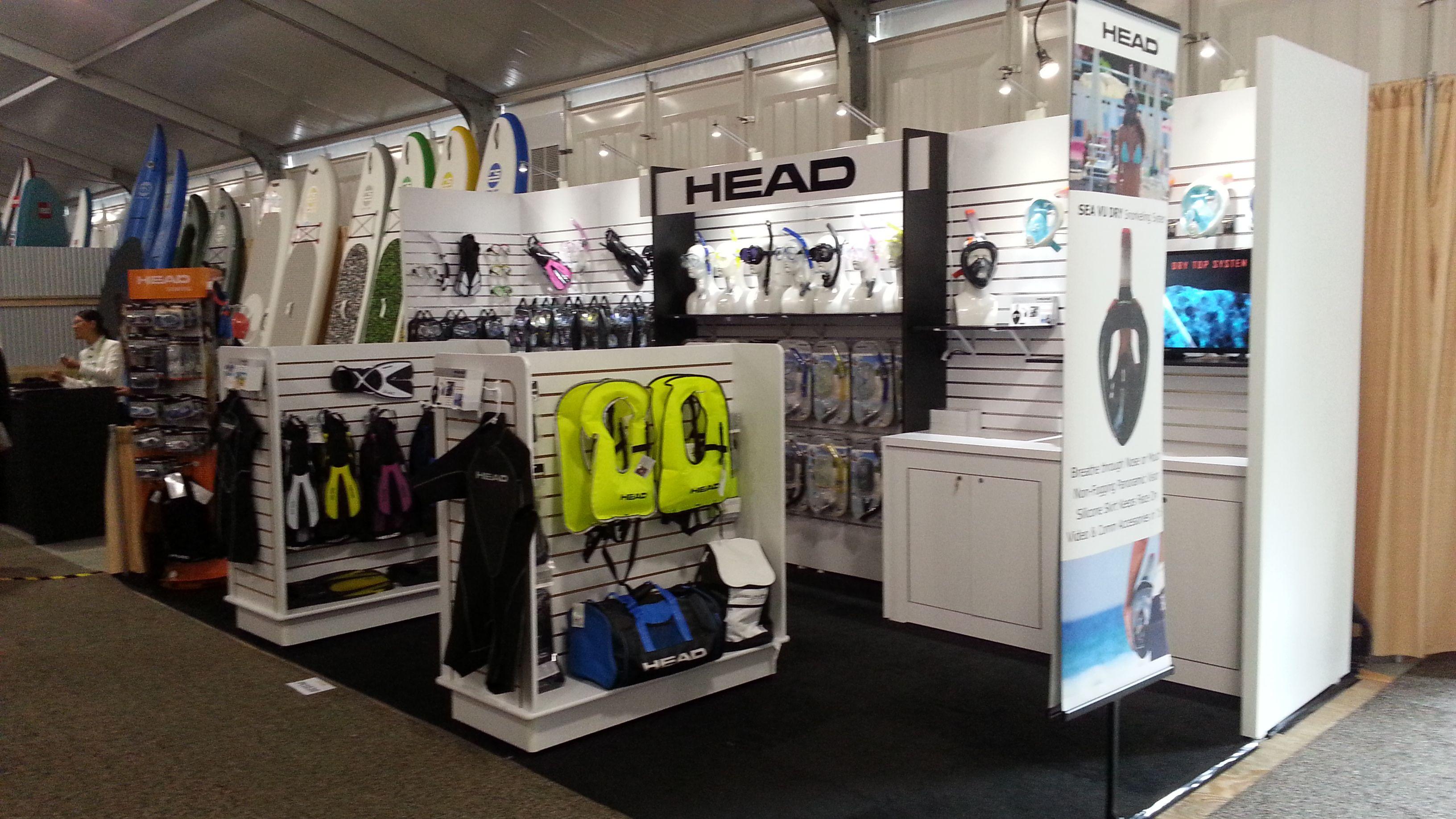 Xylea Wood Custom Slatwall Exhibit For Merchandising Guardian Scuba Trade Show Display Slat Wall Display Booth Design